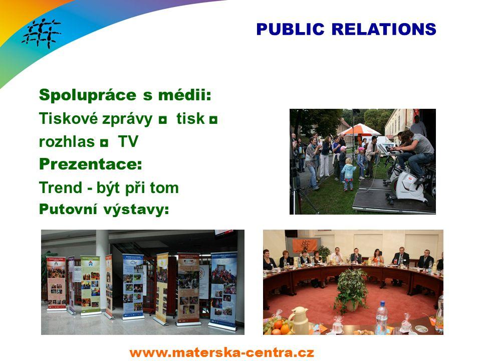 PUBLIC RELATIONS Spolupráce s médii: Tiskové zprávy ◘ tisk ◘ rozhlas ◘ TV Prezentace: Trend - být při tom Putovní výstavy: www.materska-centra.cz