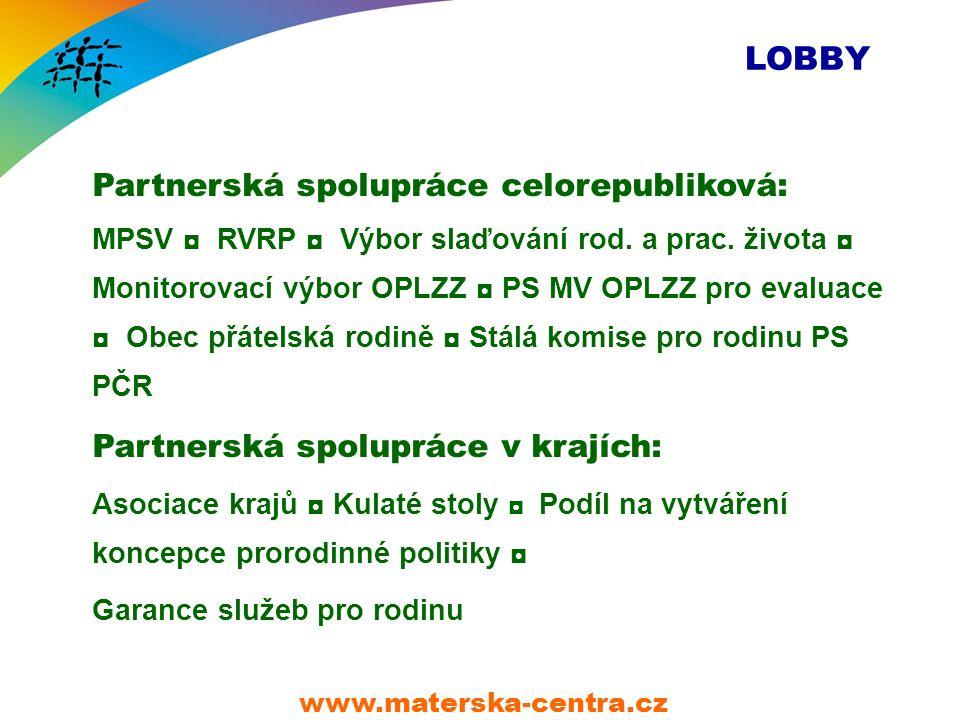 LOBBY Partnerská spolupráce celorepubliková: MPSV ◘ RVRP ◘ Výbor slaďování rod.