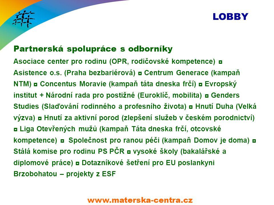 LOBBY Partnerská spolupráce s odborníky Asociace center pro rodinu (OPR, rodičovské kompetence) ◘ Asistence o.s.