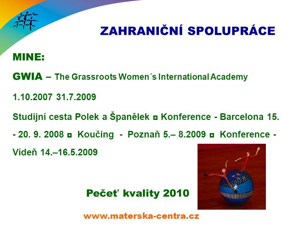 ZAHRANIČNÍ SPOLUPRÁCE MINE: GWIA – The Grassroots Women´s International Academy 1.10.2007 31.7.2009 Studijní cesta Polek a Španělek ◘ Konference - Barcelona 15.