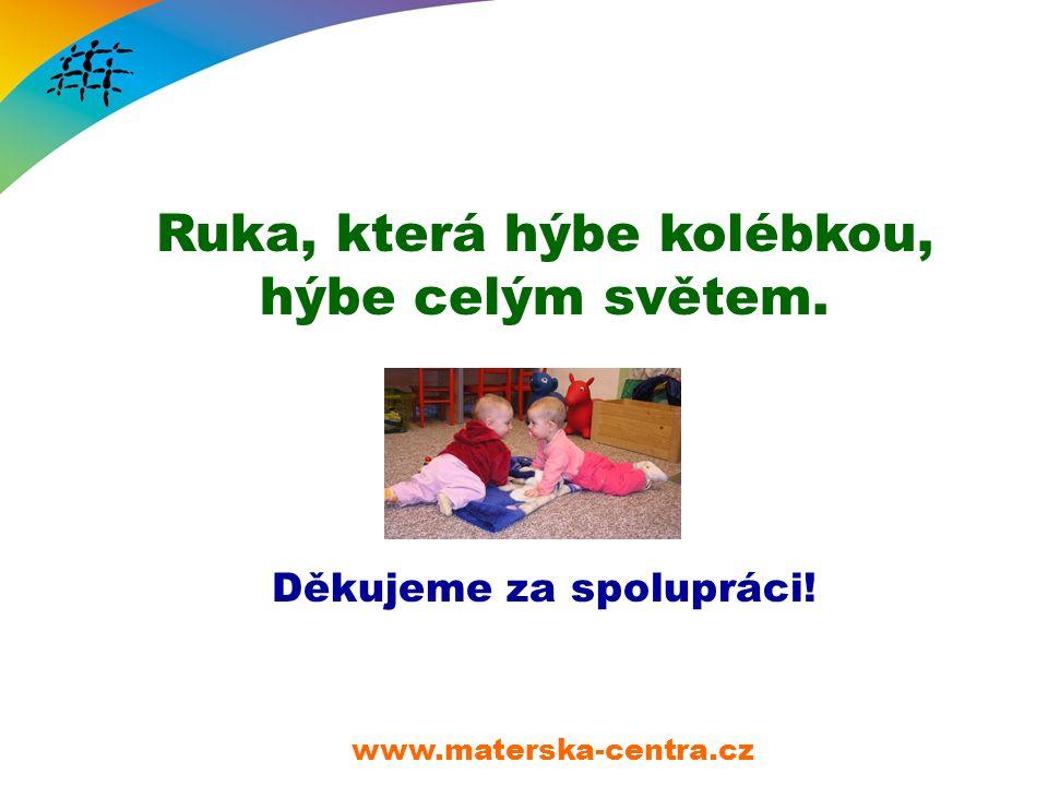 Ruka, která hýbe kolébkou, hýbe celým světem. Děkujeme za spolupráci! www.materska-centra.cz