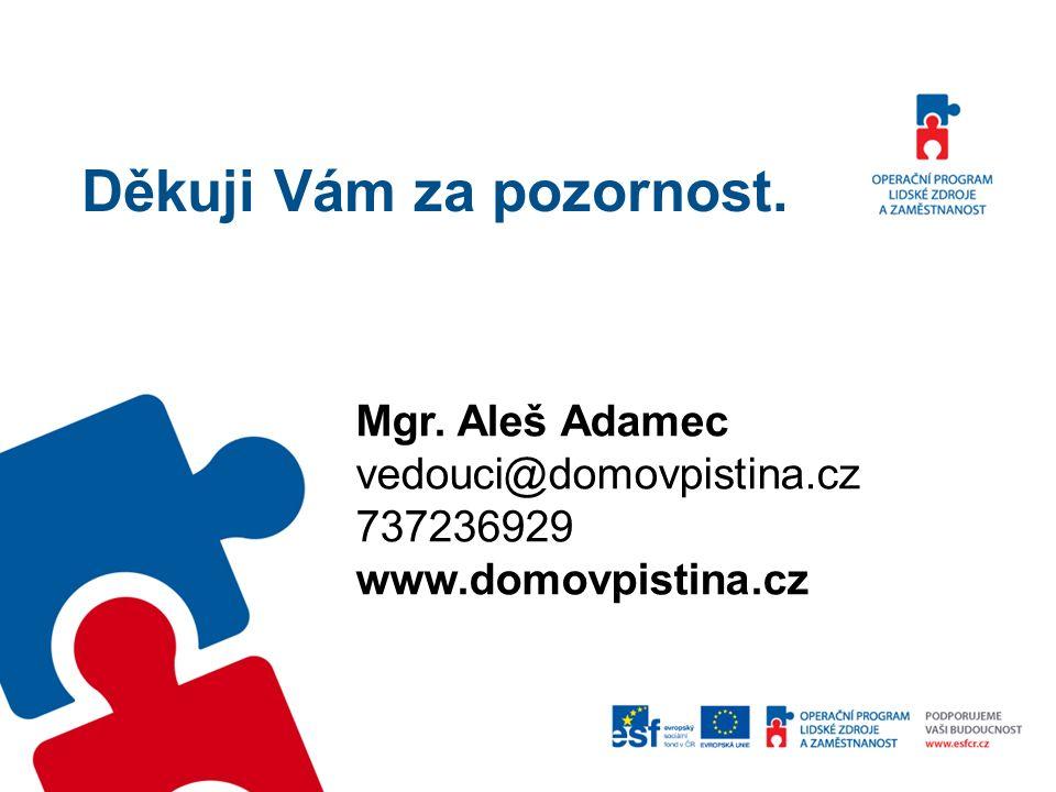 Děkuji Vám za pozornost. Mgr. Aleš Adamec vedouci@domovpistina.cz 737236929 www.domovpistina.cz