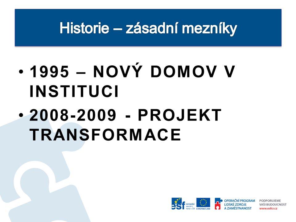 1995 – NOVÝ DOMOV V INSTITUCI 2008-2009 - PROJEKT TRANSFORMACE