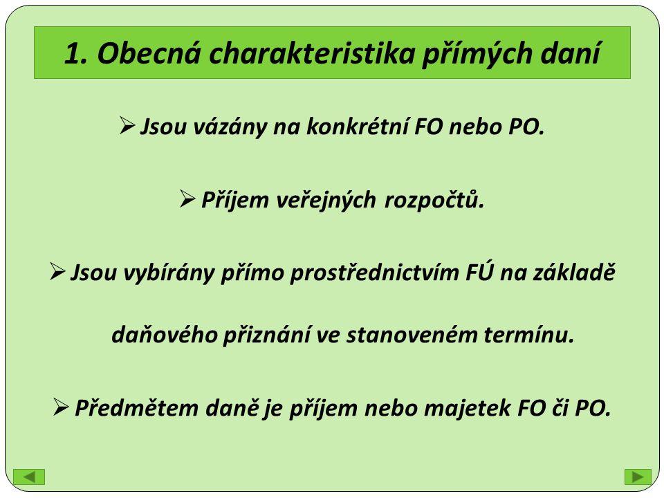 1. Obecná charakteristika přímých daní  Jsou vázány na konkrétní FO nebo PO.