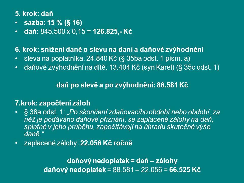 5. krok: daň sazba: 15 % (§ 16) daň: 845.500 x 0,15 = 126.825,- Kč 6.