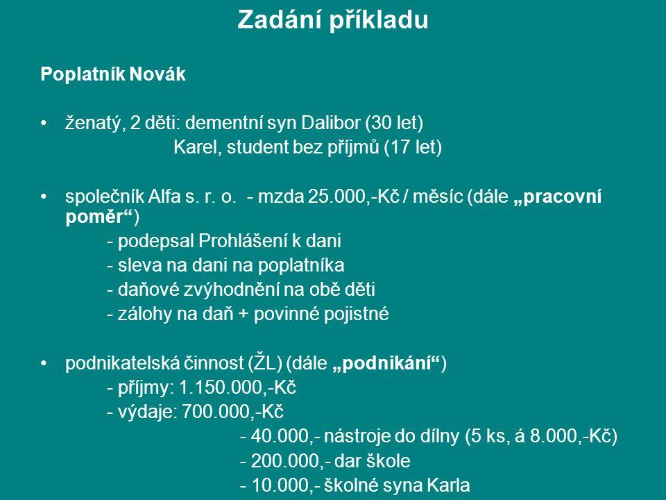Zadání příkladu Poplatník Novák ženatý, 2 děti: dementní syn Dalibor (30 let) Karel, student bez příjmů (17 let) společník Alfa s.