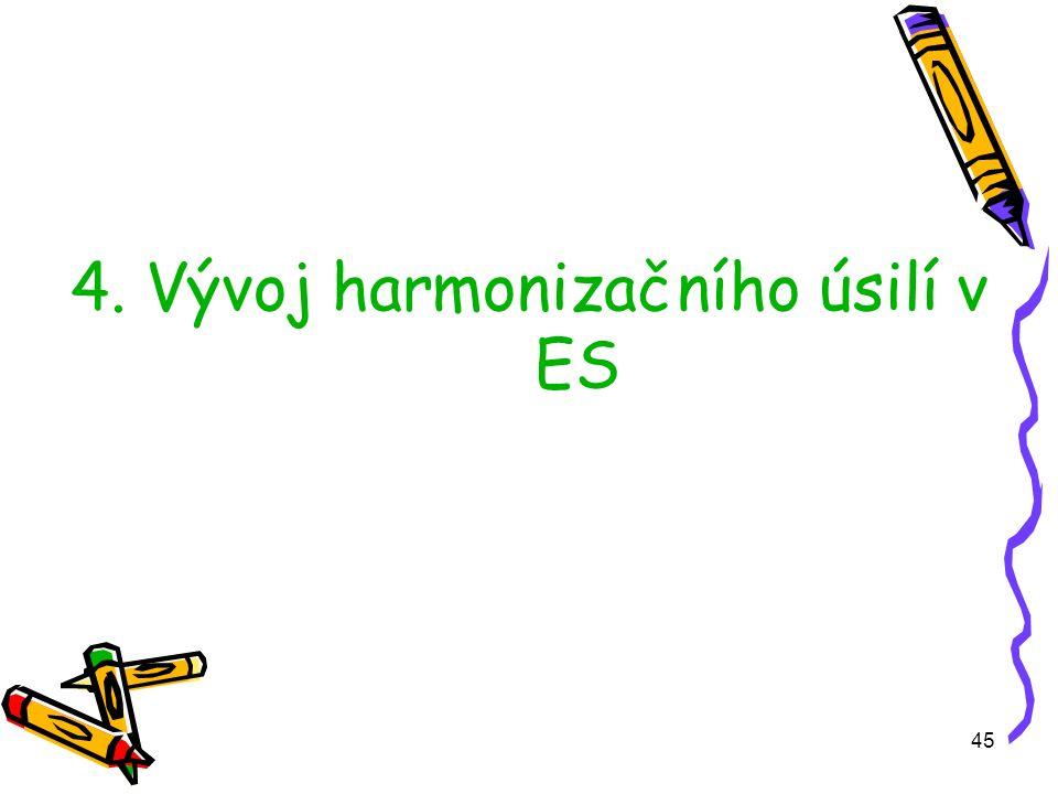 45 4. Vývoj harmonizačního úsilí v ES