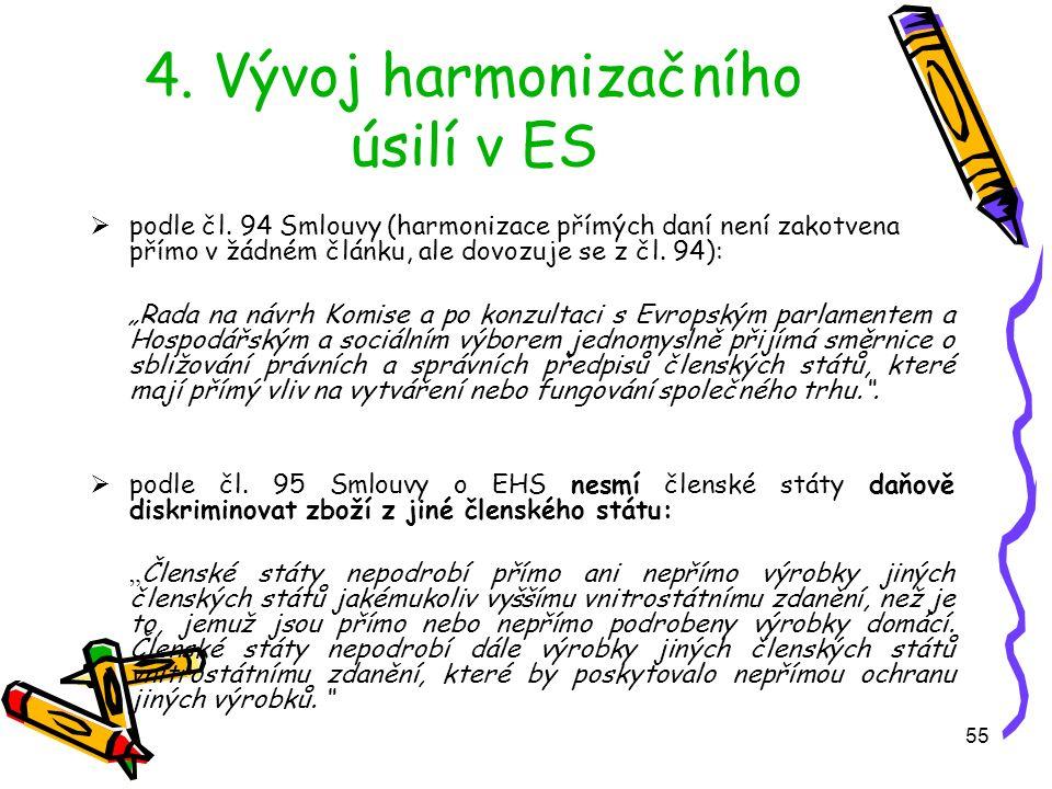 55 4. Vývoj harmonizačního úsilí v ES  podle čl.