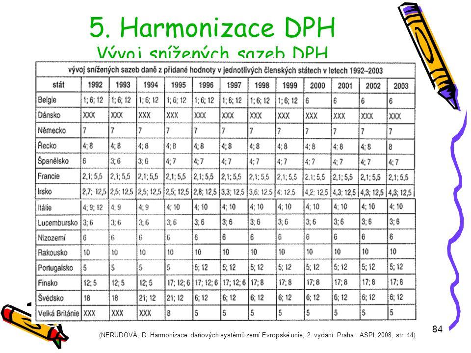 84 5.Harmonizace DPH Vývoj snížených sazeb DPH (NERUDOVÁ, D.
