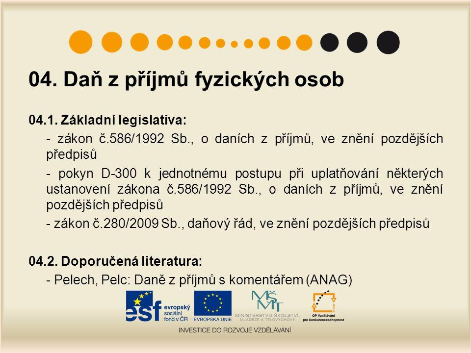 04. Daň z příjmů fyzických osob 04.1.