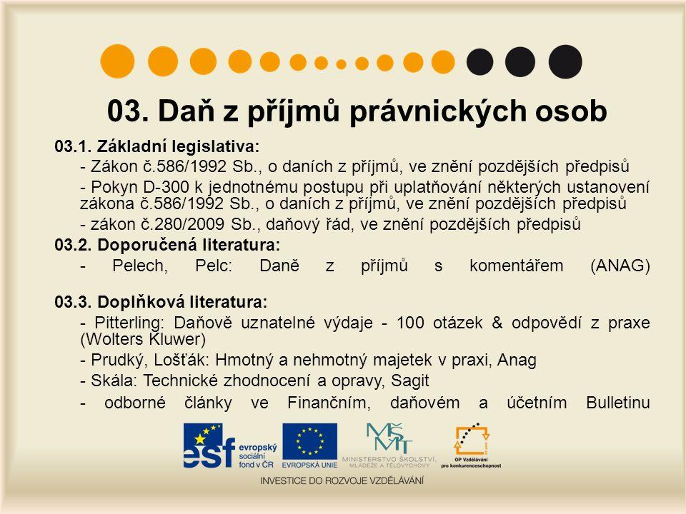 03. Daň z příjmů právnických osob 03.1.
