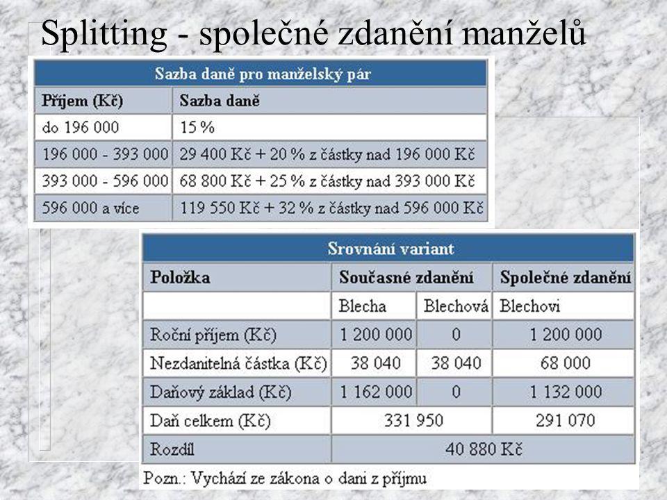 Splitting - společné zdanění manželů
