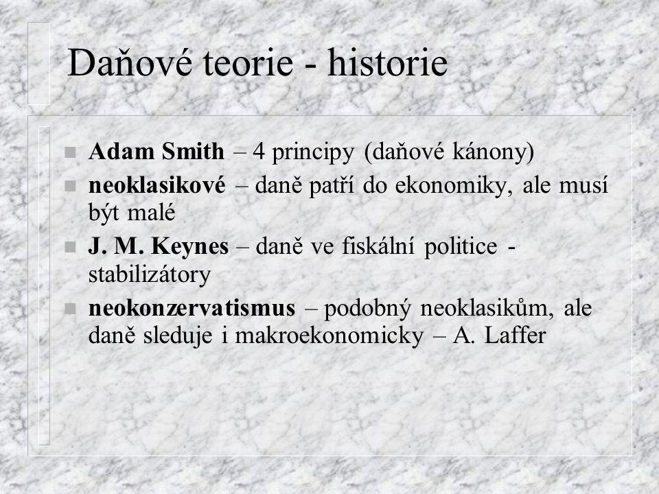 Daňové teorie - historie n Adam Smith – 4 principy (daňové kánony) n neoklasikové – daně patří do ekonomiky, ale musí být malé n J.