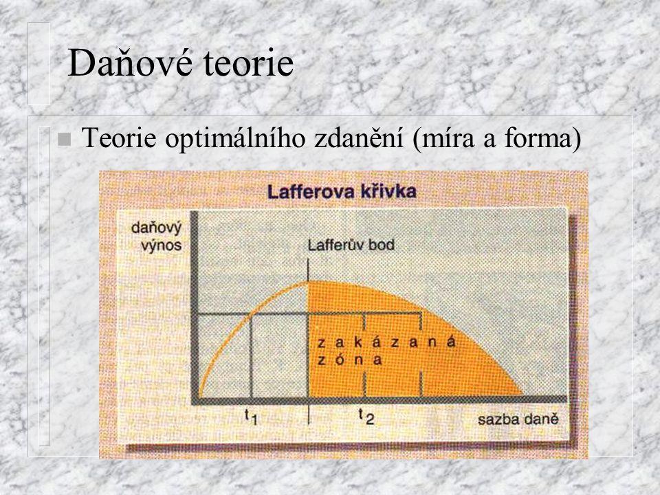Daňové teorie n Teorie optimálního zdanění (míra a forma)