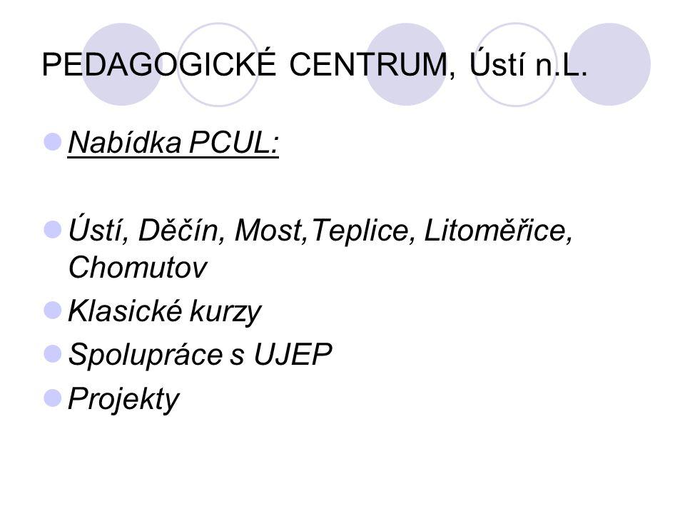 PEDAGOGICKÉ CENTRUM, Ústí n.L. Nabídka PCUL: Ústí, Děčín, Most,Teplice, Litoměřice, Chomutov Klasické kurzy Spolupráce s UJEP Projekty