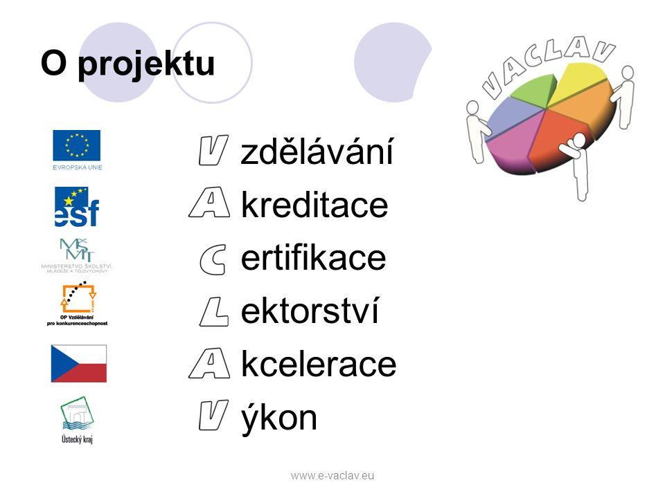 O projektu zdělávání kreditace ertifikace ektorství kcelerace ýkon www.e-vaclav.eu