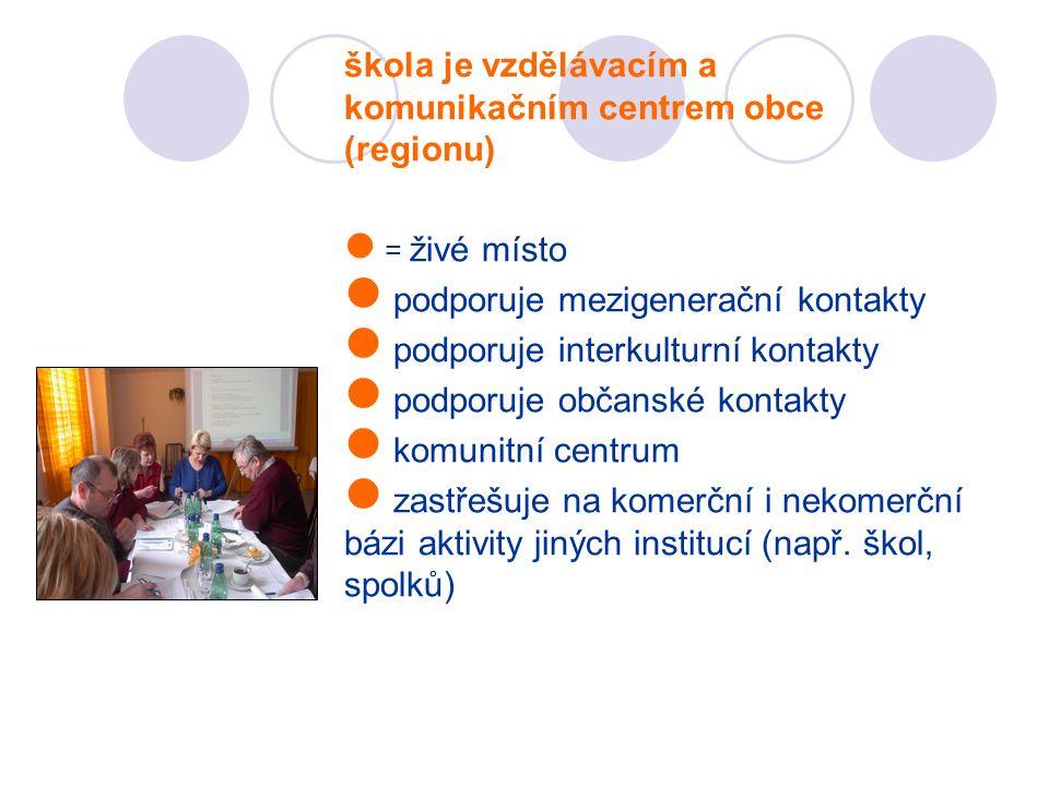 škola je vzdělávacím a komunikačním centrem obce (regionu) = živé místo podporuje mezigenerační kontakty podporuje interkulturní kontakty podporuje ob