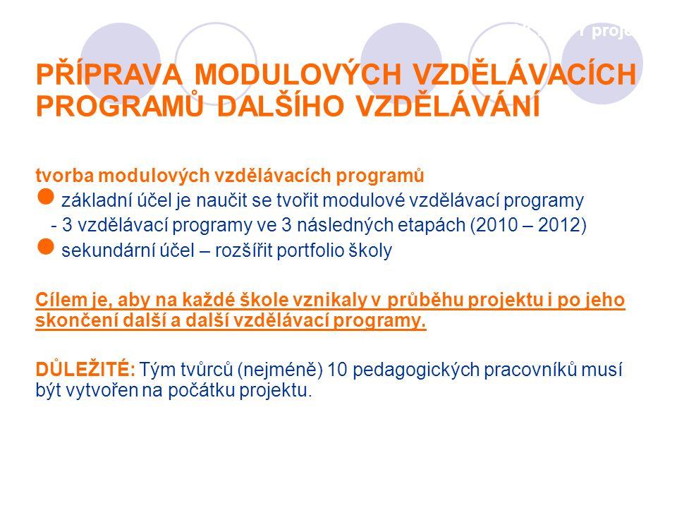 PŘÍPRAVA MODULOVÝCH VZDĚLÁVACÍCH PROGRAMŮ DALŠÍHO VZDĚLÁVÁNÍ tvorba modulových vzdělávacích programů základní účel je naučit se tvořit modulové vzdělávací programy - 3 vzdělávací programy ve 3 následných etapách (2010 – 2012) sekundární účel – rozšířit portfolio školy Cílem je, aby na každé škole vznikaly v průběhu projektu i po jeho skončení další a další vzdělávací programy.