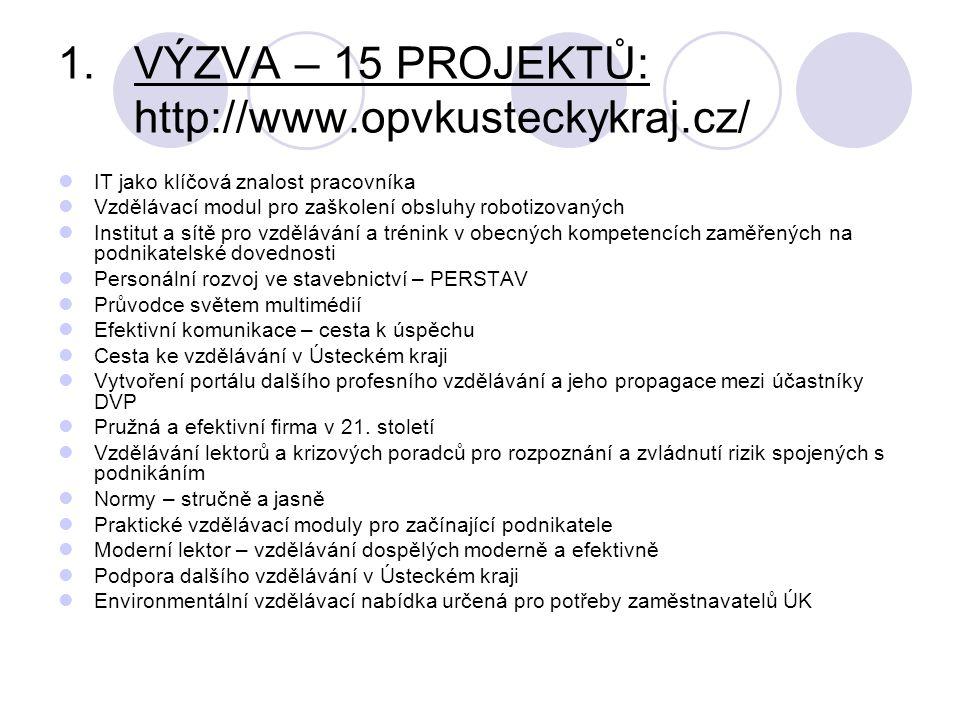 1.VÝZVA – 15 PROJEKTŮ: http://www.opvkusteckykraj.cz/ IT jako klíčová znalost pracovníka Vzdělávací modul pro zaškolení obsluhy robotizovaných Institut a sítě pro vzdělávání a trénink v obecných kompetencích zaměřených na podnikatelské dovednosti Personální rozvoj ve stavebnictví – PERSTAV Průvodce světem multimédií Efektivní komunikace – cesta k úspěchu Cesta ke vzdělávání v Ústeckém kraji Vytvoření portálu dalšího profesního vzdělávání a jeho propagace mezi účastníky DVP Pružná a efektivní firma v 21.