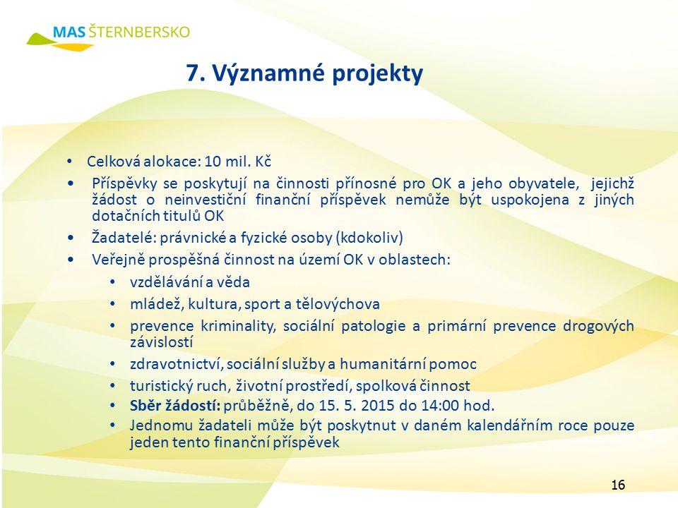 7. Významné projekty Celková alokace: 10 mil.