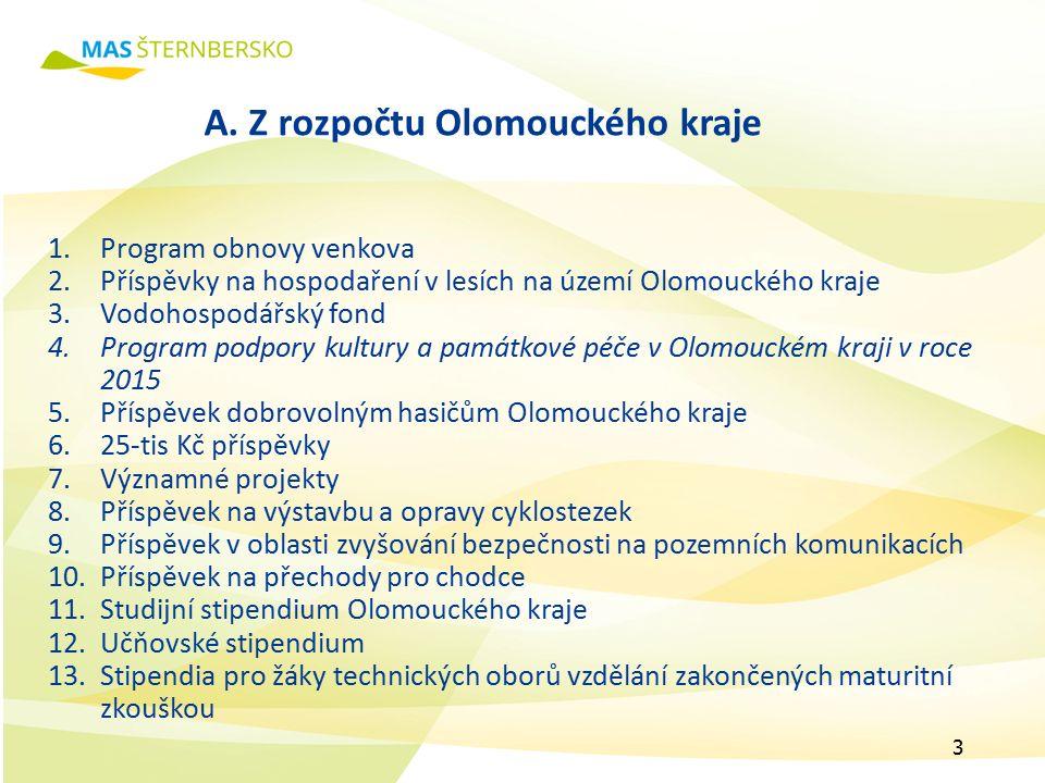 A. Z rozpočtu Olomouckého kraje 1.Program obnovy venkova 2.Příspěvky na hospodaření v lesích na území Olomouckého kraje 3.Vodohospodářský fond 4.Progr