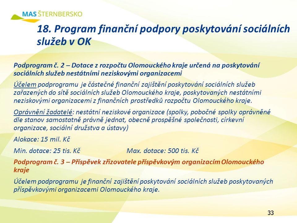 18. Program finanční podpory poskytování sociálních služeb v OK Podprogram č.