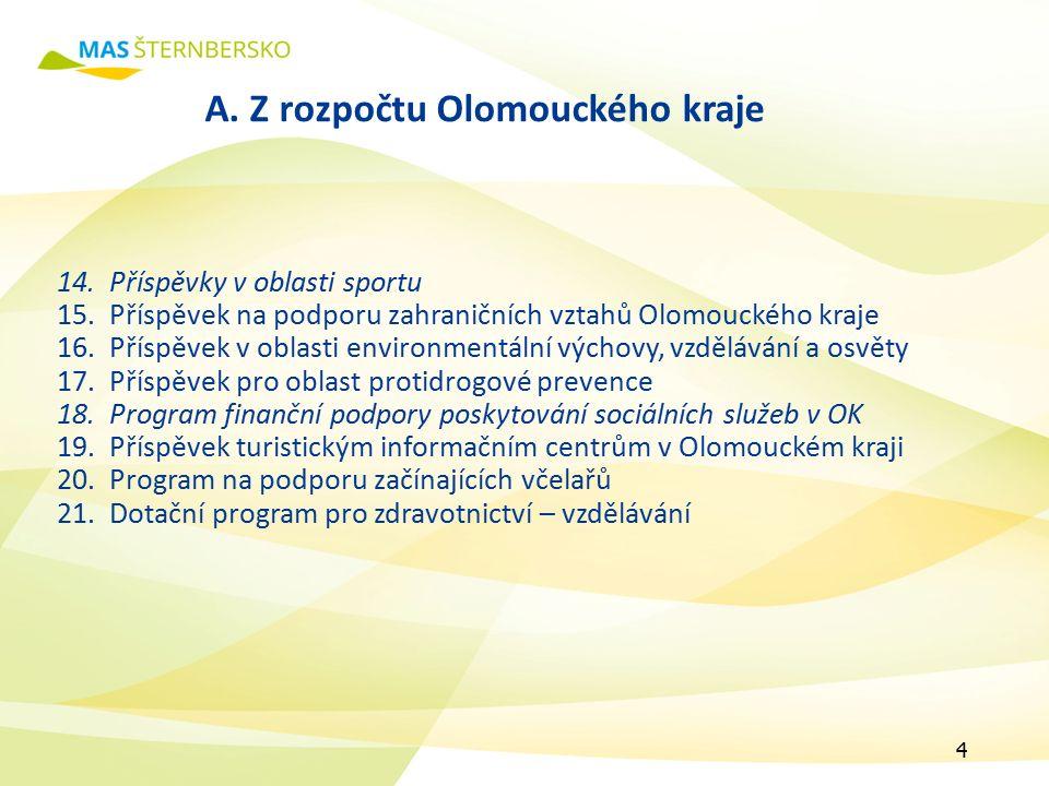 A. Z rozpočtu Olomouckého kraje 14.Příspěvky v oblasti sportu 15.Příspěvek na podporu zahraničních vztahů Olomouckého kraje 16.Příspěvek v oblasti env