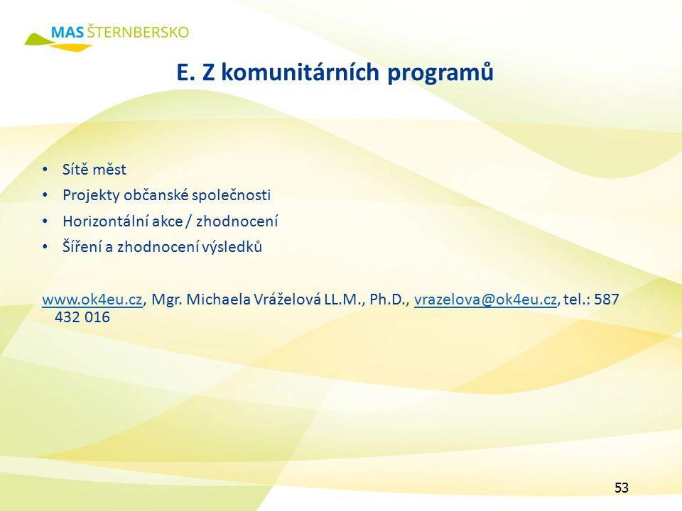 E. Z komunitárních programů Sítě měst Projekty občanské společnosti Horizontální akce / zhodnocení Šíření a zhodnocení výsledků www.ok4eu.czwww.ok4eu.