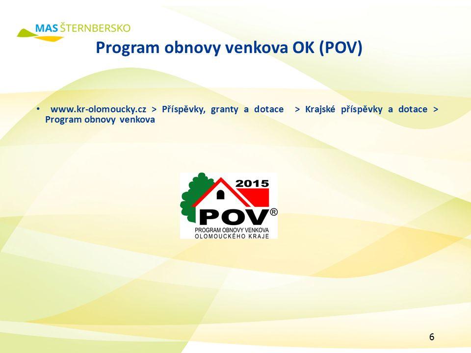 Program obnovy venkova OK (POV) www.kr-olomoucky.cz > Příspěvky, granty a dotace > Krajské příspěvky a dotace > Program obnovy venkova 6