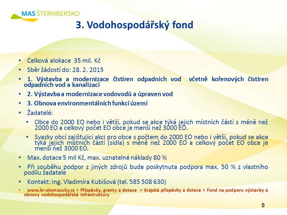 3. Vodohospodářský fond Celková alokace 35 mil. Kč Sběr žádostí do: 28.