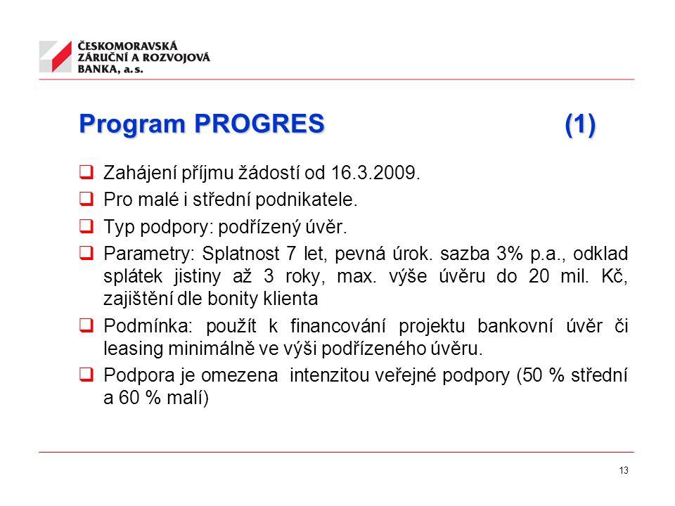 13 Program PROGRES (1)  Zahájení příjmu žádostí od 16.3.2009.  Pro malé i střední podnikatele.  Typ podpory: podřízený úvěr.  Parametry: Splatnost