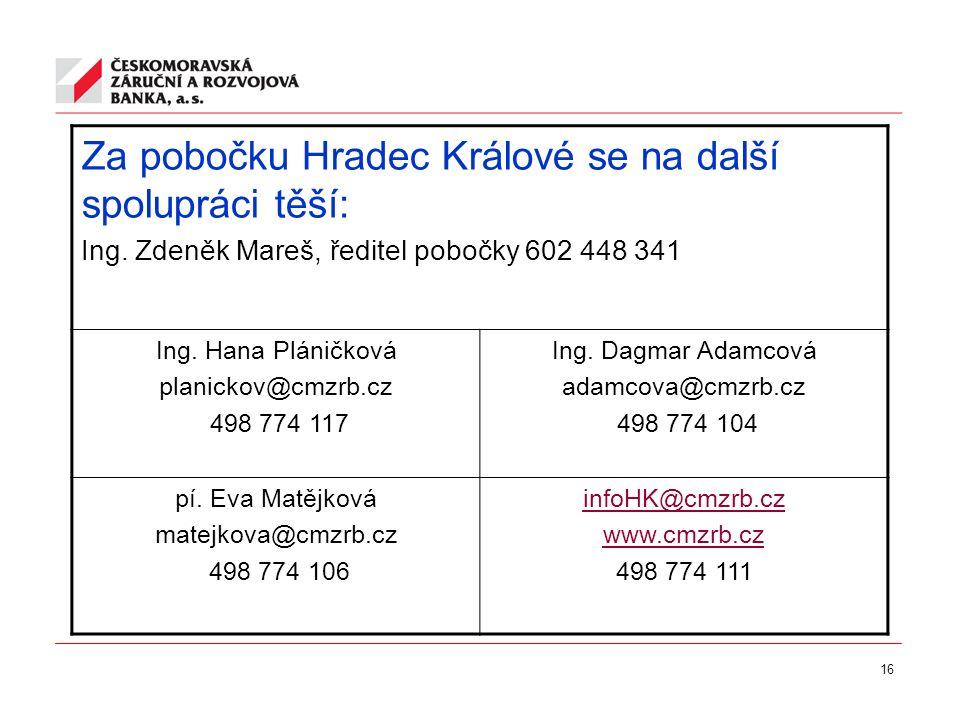 16 Za pobočku Hradec Králové se na další spolupráci těší: Ing. Zdeněk Mareš, ředitel pobočky 602 448 341 Ing. Hana Pláničková planickov@cmzrb.cz 498 7