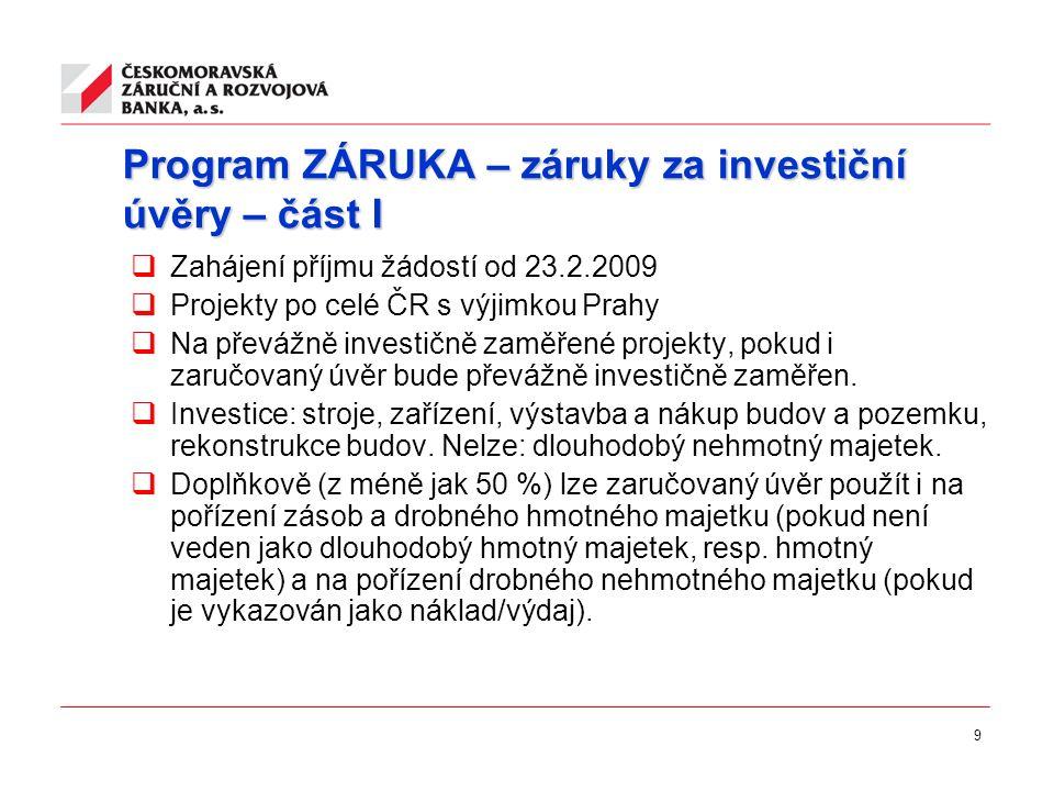 9 Program ZÁRUKA – záruky za investiční úvěry – část I  Zahájení příjmu žádostí od 23.2.2009  Projekty po celé ČR s výjimkou Prahy  Na převážně inv