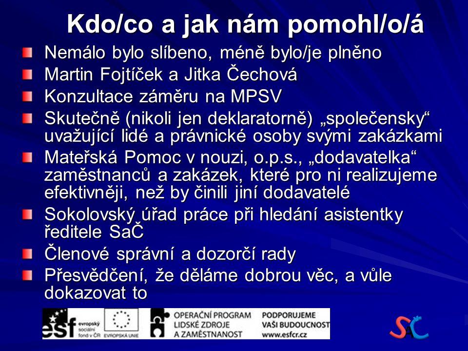 """Kdo/co a jak nám pomohl/o/á Nemálo bylo slíbeno, méně bylo/je plněno Martin Fojtíček a Jitka Čechová Konzultace záměru na MPSV Skutečně (nikoli jen deklaratorně) """"společensky uvažující lidé a právnické osoby svými zakázkami Mateřská Pomoc v nouzi, o.p.s., """"dodavatelka zaměstnanců a zakázek, které pro ni realizujeme efektivněji, než by činili jiní dodavatelé Sokolovský úřad práce při hledání asistentky ředitele SaČ Členové správní a dozorčí rady Přesvědčení, že děláme dobrou věc, a vůle dokazovat to"""