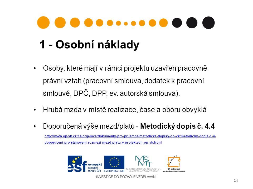 1 - Osobní náklady 14 Osoby, které mají v rámci projektu uzavřen pracovně právní vztah (pracovní smlouva, dodatek k pracovní smlouvě, DPČ, DPP, ev.