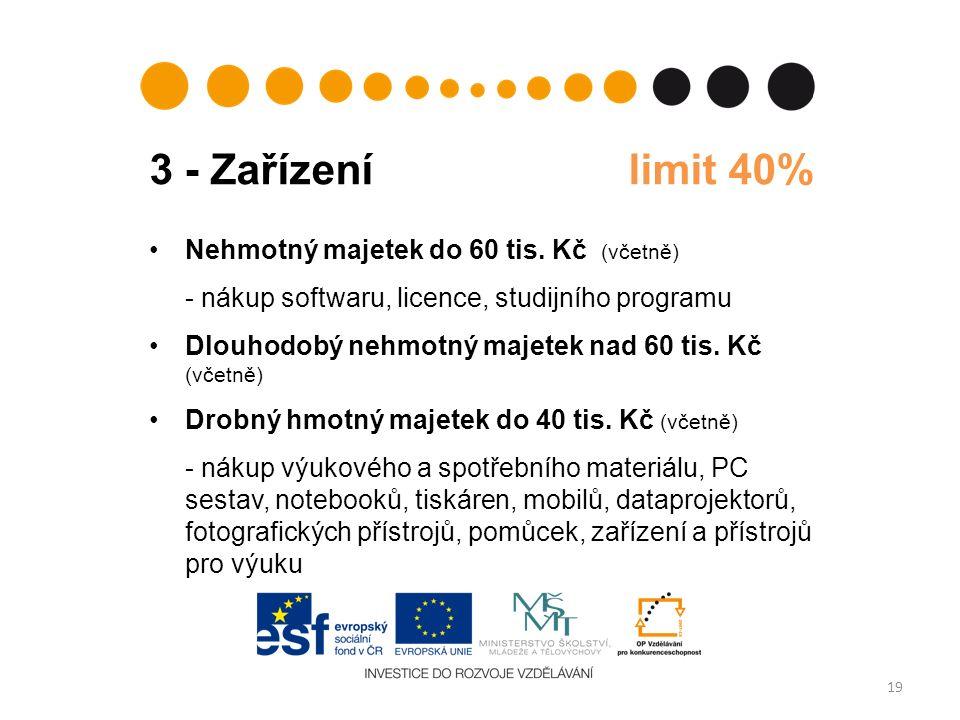 3 - Zařízení limit 40% 19 Nehmotný majetek do 60 tis.