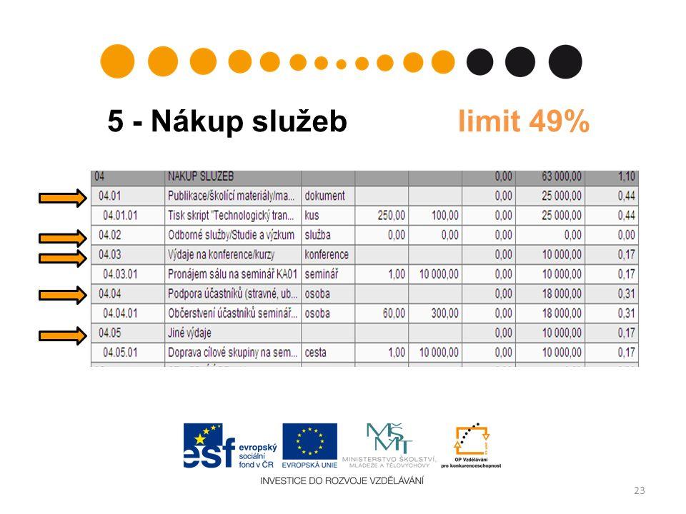 5 - Nákup služeb limit 49% 23