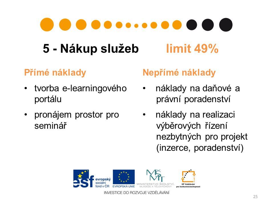 5 - Nákup služeb limit 49% 25 Přímé náklady tvorba e ‑ learningového portálu pronájem prostor pro seminář Nepřímé náklady náklady na daňové a právní poradenství náklady na realizaci výběrových řízení nezbytných pro projekt (inzerce, poradenství)