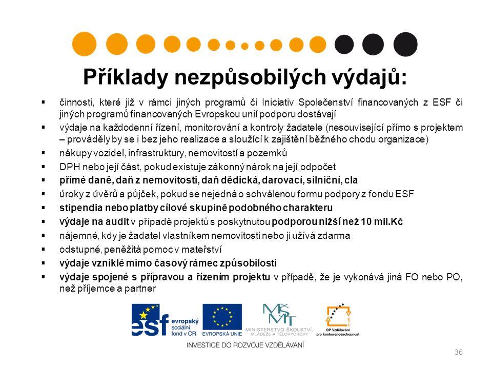 Příklady nezpůsobilých výdajů:  činnosti, které již v rámci jiných programů či Iniciativ Společenství financovaných z ESF či jiných programů financovaných Evropskou unií podporu dostávají  výdaje na každodenní řízení, monitorování a kontroly žadatele (nesouvisející přímo s projektem – prováděly by se i bez jeho realizace a sloužící k zajištění běžného chodu organizace)  nákupy vozidel, infrastruktury, nemovitostí a pozemků  DPH nebo její část, pokud existuje zákonný nárok na její odpočet  přímé daně, daň z nemovitosti, daň dědická, darovací, silniční, cla  úroky z úvěrů a půjček, pokud se nejedná o schválenou formu podpory z fondu ESF  stipendia nebo platby cílové skupině podobného charakteru  výdaje na audit v případě projektů s poskytnutou podporou nižší než 10 mil.Kč  nájemné, kdy je žadatel vlastníkem nemovitosti nebo ji užívá zdarma  odstupné, peněžitá pomoc v mateřství  výdaje vzniklé mimo časový rámec způsobilosti  výdaje spojené s přípravou a řízením projektu v případě, že je vykonává jiná FO nebo PO, než příjemce a partner 36