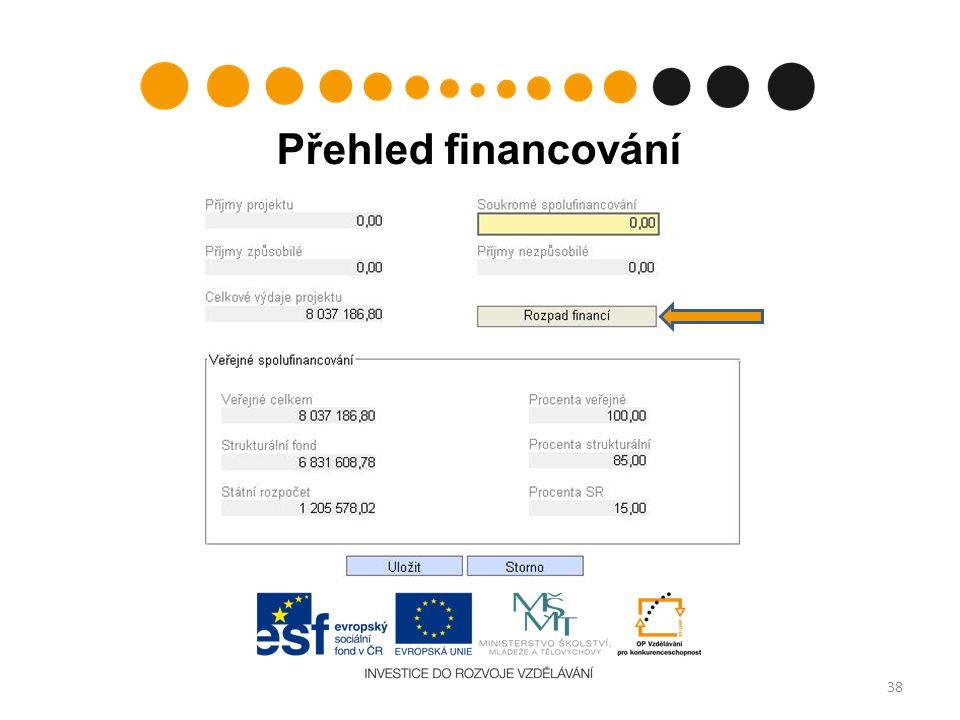 Přehled financování 38