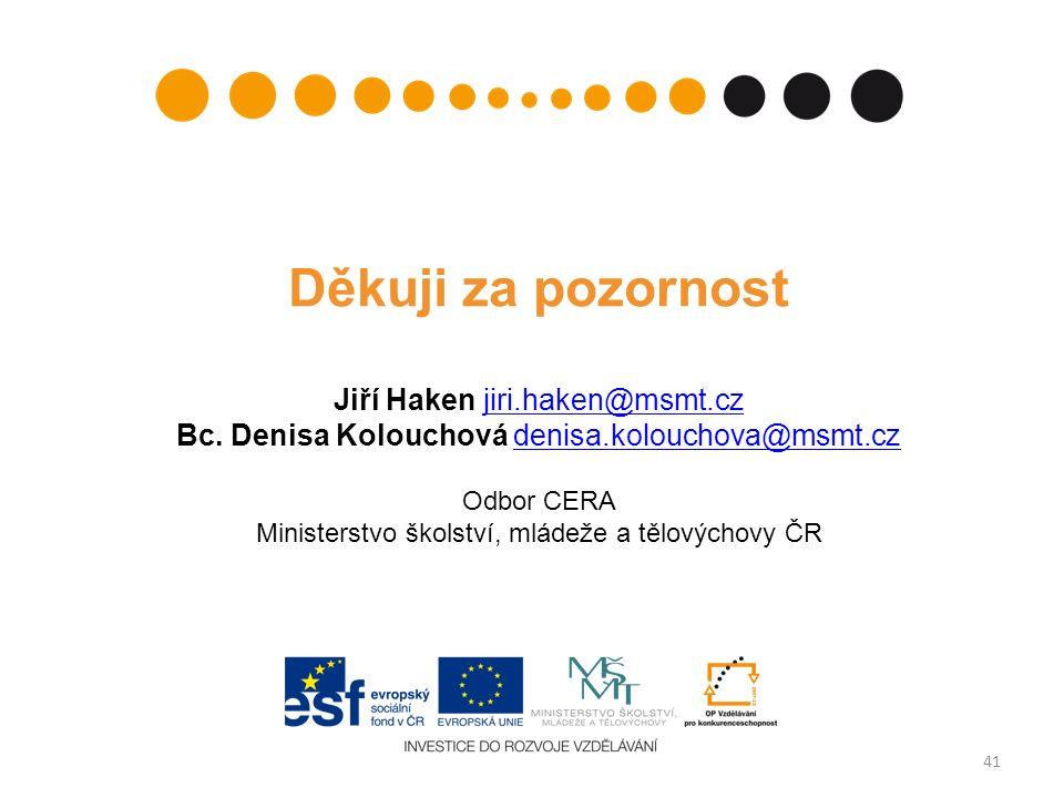 41 Děkuji za pozornost Jiří Haken jiri.haken@msmt.czjiri.haken@msmt.cz Bc.