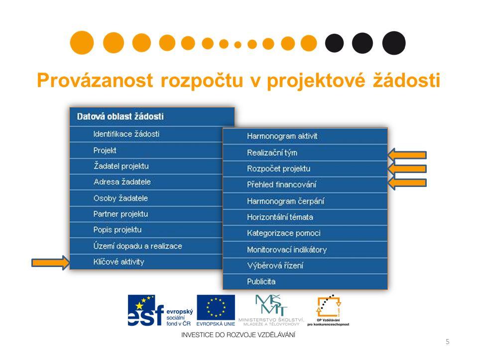 Provázanost rozpočtu v projektové žádosti 5