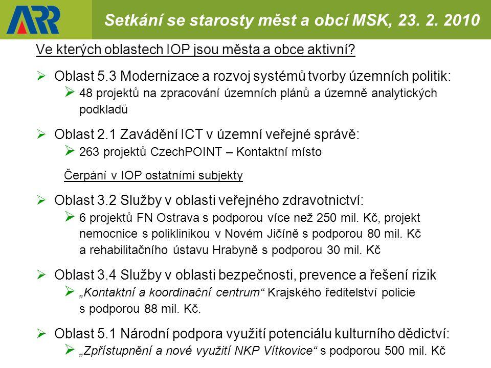 Setkání se starosty měst a obcí MSK, 23. 2.