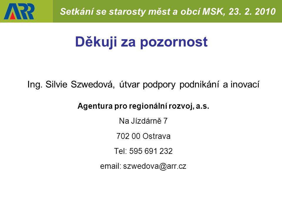 Setkání se starosty měst a obcí MSK, 23. 2. 2010 Děkuji za pozornost Ing.