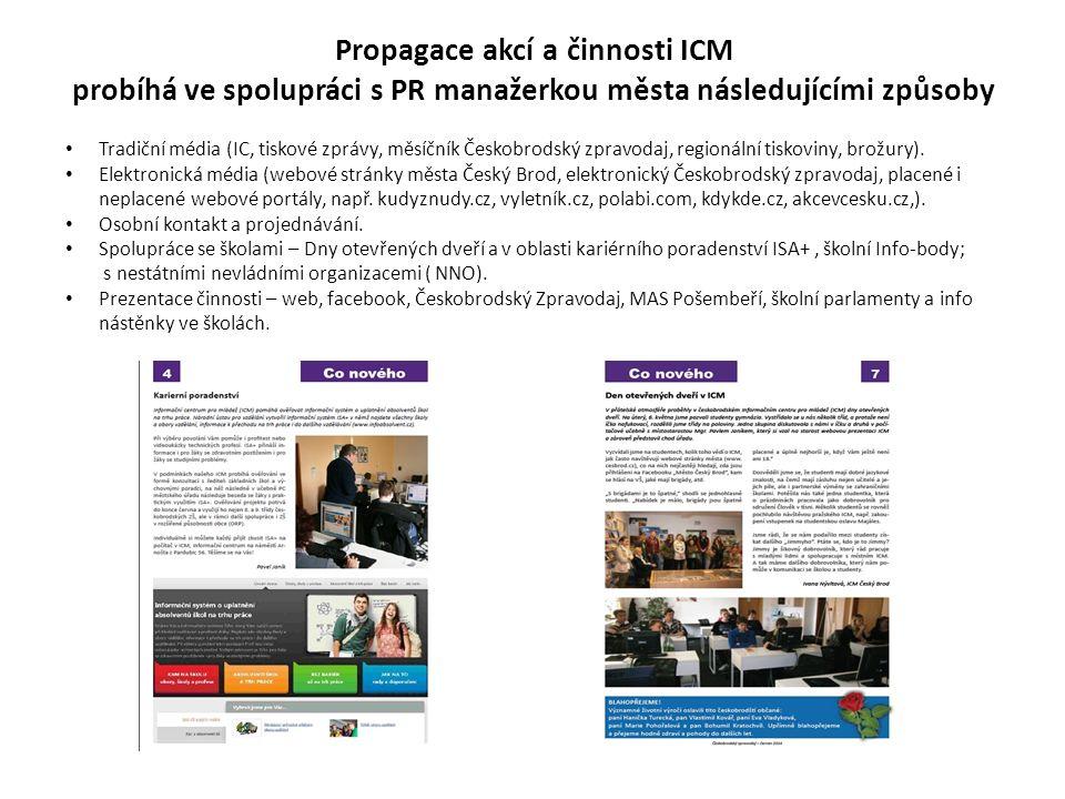Propagace akcí a činnosti ICM probíhá ve spolupráci s PR manažerkou města následujícími způsoby Tradiční média (IC, tiskové zprávy, měsíčník Českobrodský zpravodaj, regionální tiskoviny, brožury).