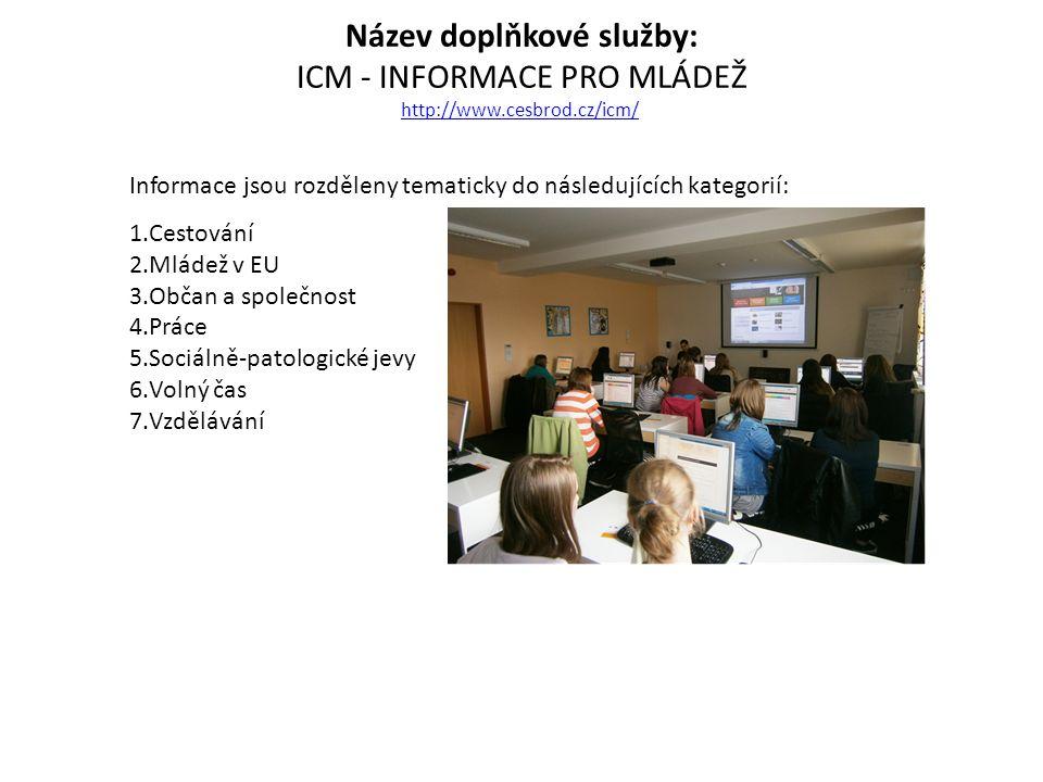 Název doplňkové služby: ICM - INFORMACE PRO MLÁDEŽ http://www.cesbrod.cz/icm/ http://www.cesbrod.cz/icm/ Informace jsou rozděleny tematicky do následu