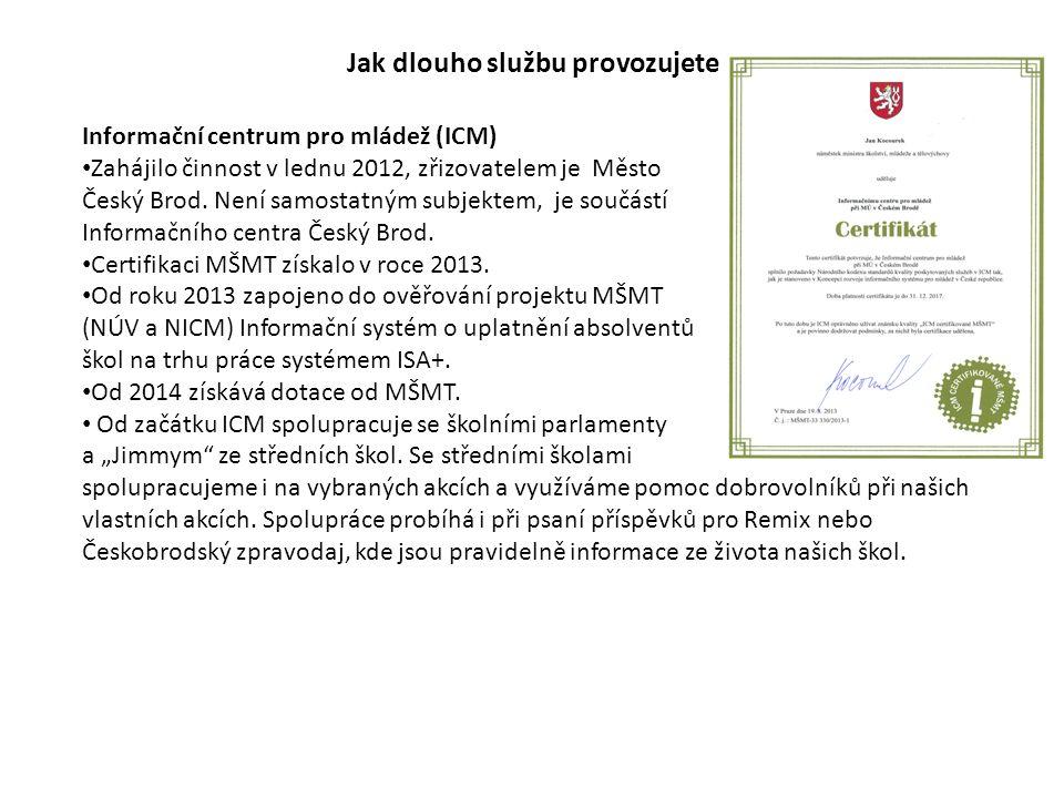 Informační centrum pro mládež (ICM) Zahájilo činnost v lednu 2012, zřizovatelem je Město Český Brod. Není samostatným subjektem, je součástí Informačn