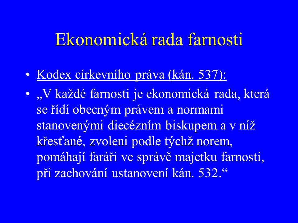 Ekonomická rada farnosti Kodex církevního práva (kán.