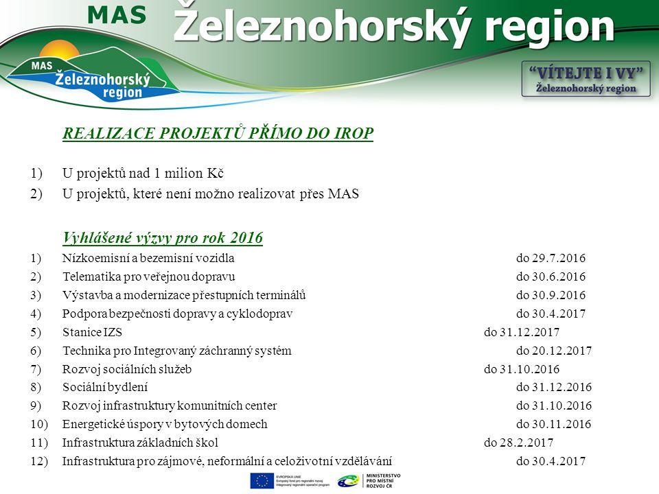 REALIZACE PROJEKTŮ PŘÍMO DO IROP 1)U projektů nad 1 milion Kč 2)U projektů, které není možno realizovat přes MAS Vyhlášené výzvy pro rok 2016 1)Nízkoemisní a bezemisní vozidlado 29.7.2016 2)Telematika pro veřejnou dopravudo 30.6.2016 3)Výstavba a modernizace přestupních terminálůdo 30.9.2016 4)Podpora bezpečnosti dopravy a cyklodopravdo 30.4.2017 5)Stanice IZSdo 31.12.2017 6)Technika pro Integrovaný záchranný systém do 20.12.2017 7)Rozvoj sociálních služebdo 31.10.2016 8)Sociální bydlenído 31.12.2016 9)Rozvoj infrastruktury komunitních centerdo 31.10.2016 10)Energetické úspory v bytových domech do 30.11.2016 11)Infrastruktura základních škol do 28.2.2017 12)Infrastruktura pro zájmové, neformální a celoživotní vzdělávání do 30.4.2017