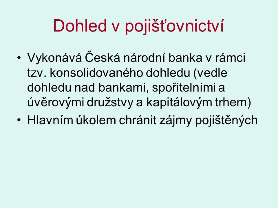 Dohled v pojišťovnictví Vykonává Česká národní banka v rámci tzv.